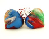 SALE Rainbow Glass Heart Ornaments Hand Painted Inside OOAK Multi Color Holiday Decor