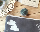 Pencil Case - Planner accessories pouch, pencil bag case, zipper pouch with pom pom pull - Cloudy Day