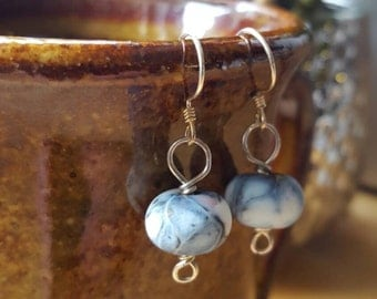 Handmade glass bead sterling silver earrings