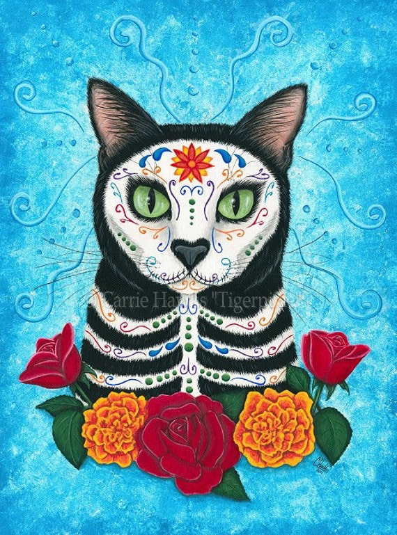 SALE Day of the Dead Cat Art Gothic Mexican Sugar Skull Cat Fantasy Cat Art Print 12x16 Art For Cat Lovers Gift