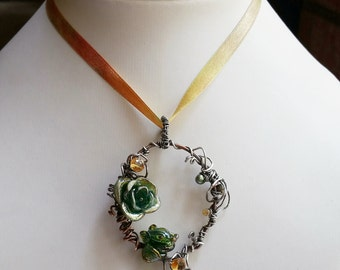 Dragon's Jewel SRA Lampwork mix metal Copper Sterling Silver Citrine Pendant with Silk ribbon