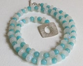 Amazonite Necklace with Moonstone and Sterling Silver Clasp, Statteam