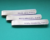 Personalized Tie Clip - Best Dad Grandpa Husband Ever - Hand Stamped Tie Bar - Custom Dad Gift - Dad or Grandpa - Fathers Day Gift