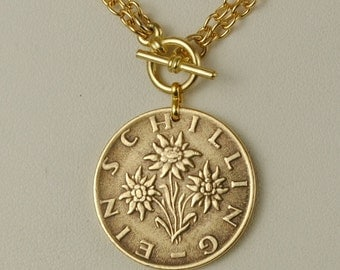Austria Coin Necklace 1973 Schilling Edelweiss Flowers
