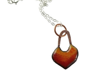 Embers - Ombre Enameled Handmade Copper Heart with Sterling Silver Chain Necklace