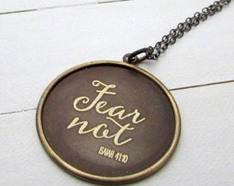 Fear Not Necklace | Isaiah 41:10 | Bible Scripture Jewelry | Engraved Modern Calligraphy
