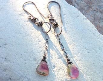 Watermelon TOURMALINE earrings, linear dangle earrings, multi gemstone jewelry