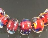 Handmade Lampwork Boro Beads Set of 7 Boro Borosilicate Glass