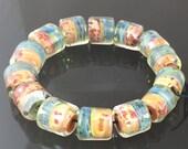 Lampwork Boro Beads Set of 14 Handmade Boro Borosilicate Glass Barrels Rolos Tubes StoneyMarie