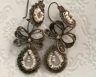 Frida Kahlo style Vintage Filligree and Pearl Earrings from Old Oaxaca