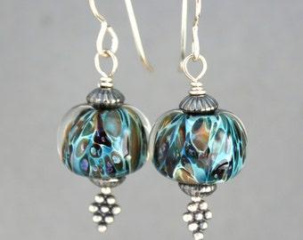 Lampwork Earrings, Glass Earrings, Sterling Silver Earrings, Dangle Earrings, Turquoise and Brown Earrings