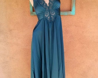 Vintage 1970s Nightgown Goddess Blue Nightie Plunging Small B34