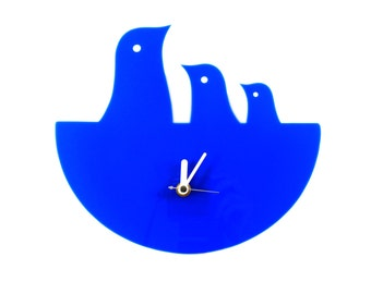 Cobalt Blue Bird Nest Hanging Clock - Wall Clock - Wall Decor