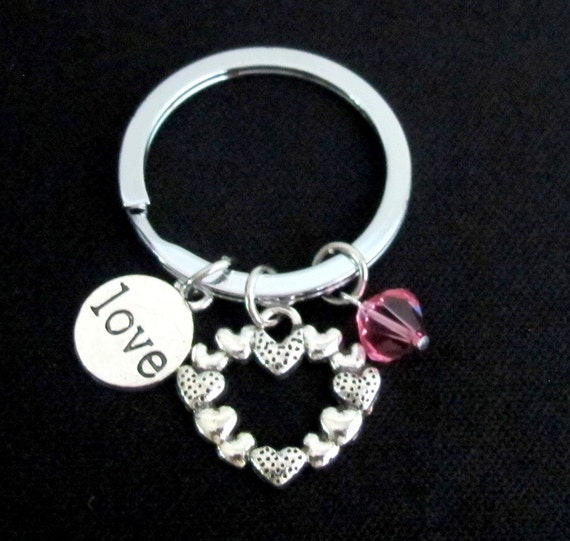 Love Keychain Love Keyring Heart Keychain Custom Key Chain, Birthstone,  Beautiful and Unique Heart Charm Gift for Loved Ones Valentine Gift