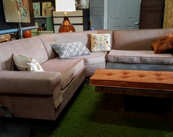 Mid Century Modern Pink Three Piece Sectional Sofa