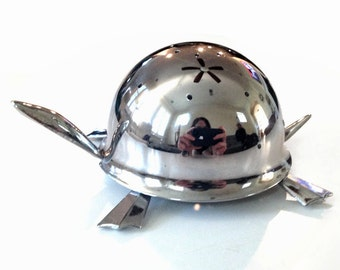 Mid Century Modern Stainless Steel Metal Small  Irvinware Turtle Hors D'Oeuvre Server Toothpick Holder