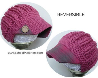 Newsboy hat pink & gray plaid brim wood buttons reversible hat cute winter hat gift for girls wholesale crochet hat crochet newsboy brim hat