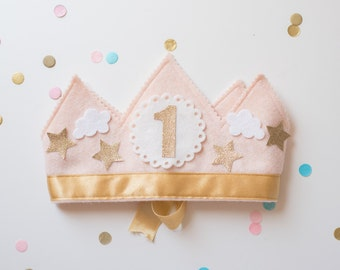 GIRL Pink and Gold First Birthday Crown - Stars and Clouds Birthday Party Hat - Smash Cake