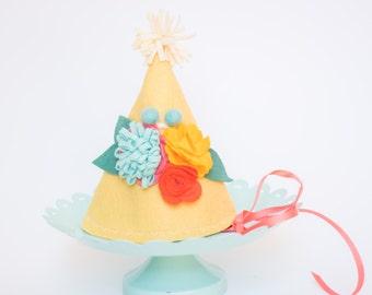 Girls Felt Birthday Hat - Floral Brites
