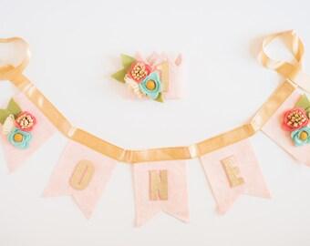 PARTY PACK Hat & Bunting // Smash Cake // Photo Prop // Baby Girl Birthday // Flower Crown // mini headband crown