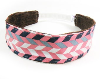 No Slip Headband - Coral Gray Navy Chevron
