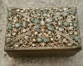 Gold tone Vintage Faux Turquoise & Rhinestone Embellished Vanity Box 1950's