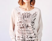 Tree of Life Tee, Long Sleeved Pullover in Oatmeal, Bohemian Clothes