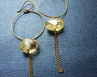 Yellow Citrine Gold Hoop and Chain Earrings