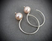 blush ... pink pearl hoops