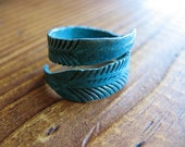 Feather Wrap  Ring in Blue Patina - Adjustable from size 5 to 9