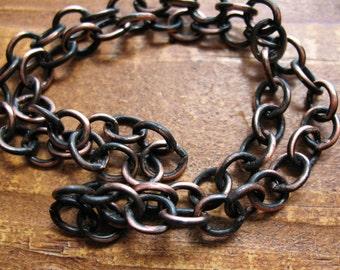 Blackened Copper Chain - 12 inch segment - Open Link Medium Patina Chain