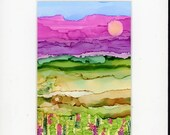 Alcohol ink painting landscape in pastels