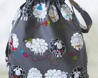 Medium Knitting Project Tote Bag - Knitty Sheep Gray
