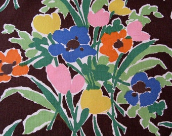 Vintage Waverly Fabric Primavera 1970's Mid Mod Floral Flower Bouquets 6 Yards Pink Blue Orange Green Yellow Brown Home Decorator Fabric