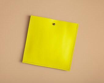 Square Pocket Insert - Lemon Yellow Leather