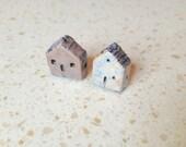 House Beads, kiln fired clay, raku