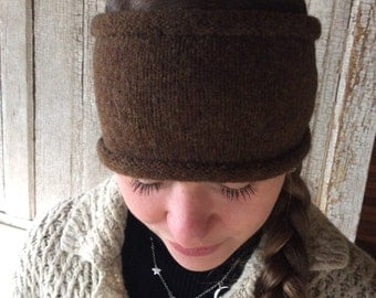Winter Headband/Earwarmers/Eco Friendly Recycled Reclaimed Sweater/Brown Warm Headband