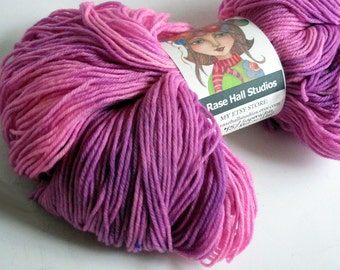 Hand Dyed Superwash Merino Wool & Nylon Fingering Weight Yarn, Knitting Yarn, Sock Yarn Indie Dyer, 462 Yards, Pink and Violet