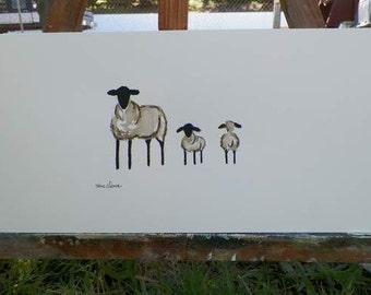 Hey Turn Around Sheep Family Portrait Commission Watercolor Lamb Art Original Painting Nursery Room Kids Childrenskids Artist Debra Alouise