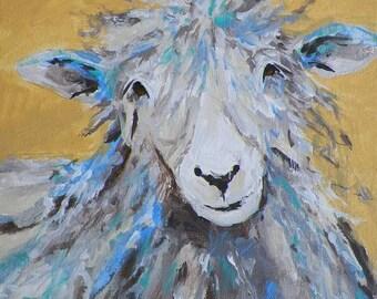 Sheep Country Kitchen Farm Ranch Barnyard Art Original Painting Acrylic by Artist Debra Alouise