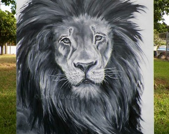 Lion Original Oil Painting by California Artist Black White Gray Abstract Wildlife