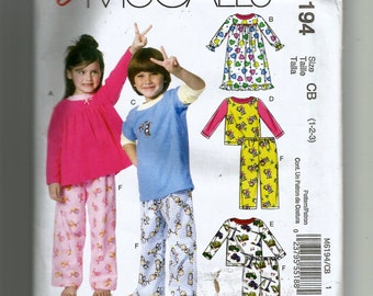 McCall's Toddler's Tops, Nightgown and Pants Pattern 6194