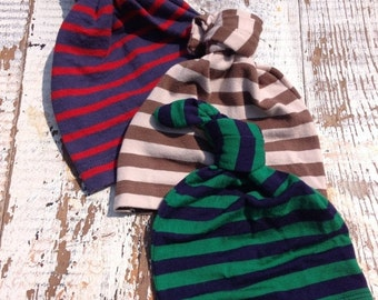 40% FLASH SALE- Newborn Hat Trio-Stripes-Wee One's Caps- Gift Set