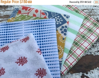 35% OFF CRAZY SALE- Reclaimed Bed Linens Fat Quarter Bundle-Red White and Blue
