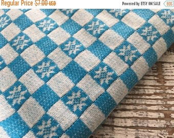 30% OFF SUPER SALE- Vintage Jersey Knit-Aqua Checkers and Flowers-Tube Knit