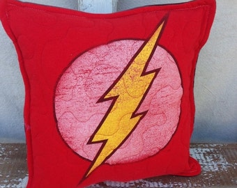 30%OFF SUPER SALE- Flash Throw Pillow-Comic- Iconic--Upcycled Eco Friendly-Quilted