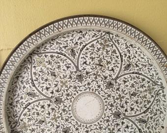Round Venetian Tin Tray / FabCraft / Magnet Board / Mandala / Bohemian / White Gold Black / Classic Chic