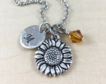 Sunflower Charm Necklace, Personalized Initial and Birthstone Jewelry, Personalized Charm Necklace, Sunflower Gift