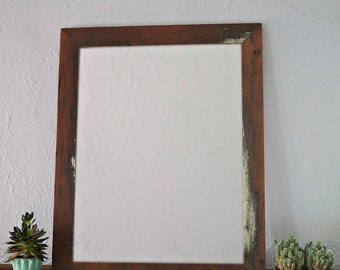 Reclaimed Wood Mirror | 18x30 Vanity Mirror | Bathroom Mirror | Entryway Foyer Decor | Handcrafted Wooden Framed Mirror | Choice of Colors