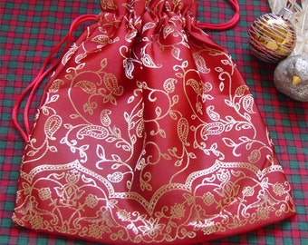 Fabric Gift Bag Christmas red & gold satin Holiday drawstring bag pouch lined in gold